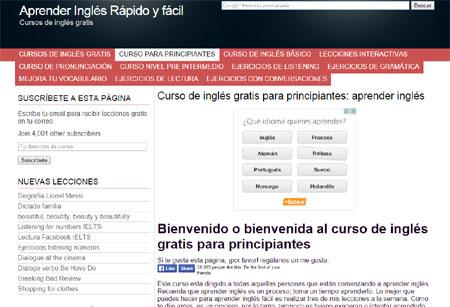 Pantallazo de la web para aprender inglés rápido y fácil que estamos revisando