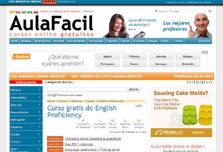 Captura de pantalla de la web Aula Fácil, en su sección de cursos de inglés