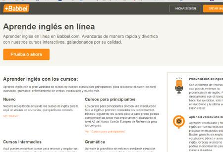 Pantallazo de la web principal de Babbel para estudiar inglés