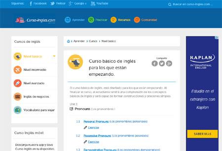 Captura de pantalla de la web para aprender ingles curso-ingles.com