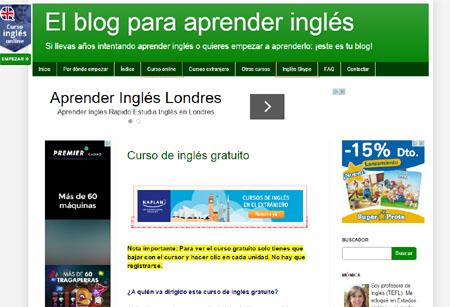 Captura de pantalla de el blog para aprender ingles
